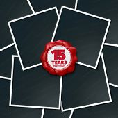 15 Years Anniversary Vector Icon, Logo. Design Element, Greeting Card With Collage Of Photo Frames A poster