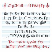Alphabet Abc Vector Musical Alphabetical Font With Music Note Letters Of Alphabetic Typography Illus poster