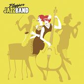 Ladies Jazz Orchestra. Four Flapper Girls Playing Music. Vector Illustration poster