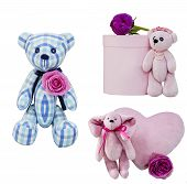 Holiday Toys With Flowers. Toy Bear In A White And Blue Cage With A Pink Rose Isolated. Pink Box Wit poster