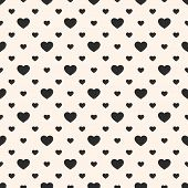 Vector Seamless Pattern With Small Hearts. Valentines Day Background. Abstract Geometric Black And W poster