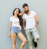 Urban Loving Couple. Couple White Shirts Lean Each Other. Hipster Bearded And Stylish Girl Hang Out  poster