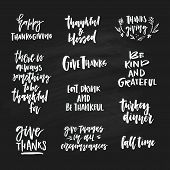 Big Collection Of Hand Written Hansgiving Lettering. Give Thanks, Be Thankful And Other Thanks Givin poster