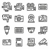Vector Line Video And Camera Icons Set. Action Camera, Film, Record , Security Camera And Other poster