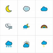Climate Icons Colored Line Set With Solar, Windy, Thunderstroke And Other Clouded Elements. Isolated poster