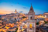 Matera, Italy. Cityscape Image Of Medieval City Of Matera, Italy During Beautiful Sunrise. poster