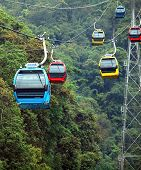 stock photo of ropeway  - Colorful gondolas of a ropeway travel above a dense forest - JPG
