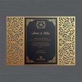 Luxury Wedding Invitation Or Greeting Card With Vintage Floral Ornament. Paper Lace Envelope Templat poster