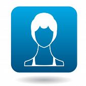 Avatar Woman With Short Hair Icon In Simple Style In Blue Square. People Symbol poster