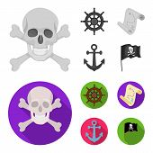 Pirate, Bandit, Rudder, Flag .pirates Set Collection Icons In Monochrome, Flat Style Vector Symbol S poster