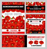 Remembrance Day Lest We Forget Poppy Banner Template Set. World War Soldier And Veteran Memory Day A poster