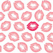 Female Contrast Lipstick Kiss Isolated On White Background. Vector Seamless Pattern. poster