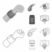 Basketball And Attributes Outline, Monochrome Icons In Set Collection For Design.basketball Player A poster