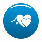 Cardiology Icon. Simple Illustration Of Cardiology Icon For Any Design Blue poster