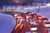 image of snowy-road  - Driving on snowy road - JPG