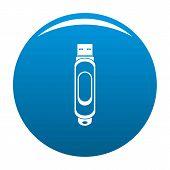 Mini Usb Icon. Simple Illustration Of Mini Usb Icon For Any Design Blue poster