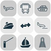 Transport Icons Set With School Bus, Vessel, Plane And Other Air Transport Elements. Isolated  Illus poster