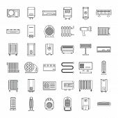 Electric Heater Device Icons Set. Outline Illustration Of 36 Electric Heater Device Icons For Web poster