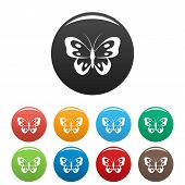 Butterfly In Wildlife Icon. Simple Illustration Of Butterfly In Wildlife Icons Set Color Isolated On poster