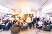 Vintage Abstract Defocused Background People Hang Out At Lobby Of Luxury Hotel poster