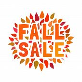 Sale Icon. Autumn Sales Concept. Autumnal Leaf Color Flyer. Fall Season Special Offer, Fair Welcome  poster