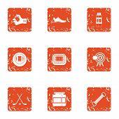 Hard Training Icons Set. Grunge Set Of 9 Hard Training Vector Icons For Web Isolated On White Backgr poster