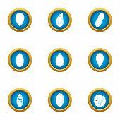 Tasty Fruit Icons Set. Flat Set Of 9 Tasty Fruit Vector Icons For Web Isolated On White Background poster