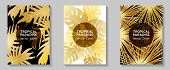 Tropical Paradise Gold Leaves Vector Cover Layouts Set. Cool Floral A4 Cards Collection Design. Exot poster