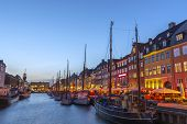 Copenhagen Night City Skyline At Nyhavn Harbour, Copenhagen Denmark poster
