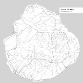Map Of Marie Galante Island,guadeloupe, Contains Geography Outlines For Land Mass, Water, Major Roa poster