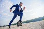 Man Concentrated Focused On Business Achievement. Businessman Formal Suit Run Outdoors Blue Sky Back poster