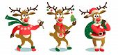 Cute And Funny Christmas Reindeers, Cartoon Vector Illustration Isolated On White Background, Reinde poster