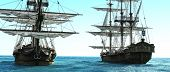 Pirate Ships Positioned Close To Each Other Out To Sea. 3d Rendering poster