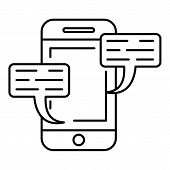 Smartphone Chat Icon. Outline Illustration Of Smartphone Chat Icon For Web Design Isolated On White  poster