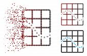 Vector Dotted Function Chart Icon In Sparkle, Pixelated Halftone And Undamaged Whole Versions. Disap poster