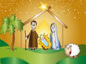 stock photo of christchild  - illustration of nativity with joseph - JPG