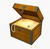 image of treasure chest  - Wooden box with treasures - JPG