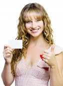 Upbeat Beautiful Woman With Business Card
