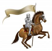 stock photo of jousting  - A knight with spear and banner mounted on a powerful horse - JPG