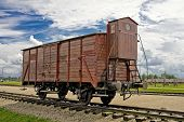 picture of auschwitz  - Old wagon in concentration camp in Auschwitz - JPG
