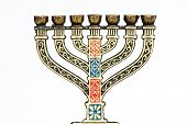 picture of tabernacle  - Jewish menorah candelabra placed on  table and uniform background - JPG