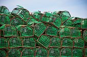 foto of lobster trap  - Lobster and Crab traps stack in a port - JPG