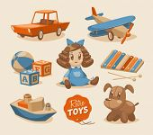stock photo of baby doll  - Toys emblems - JPG