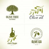 stock photo of virgin  - Set of olive labels - JPG