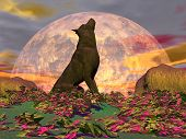 stock photo of wolf moon  - Wolf howling in the nature with surrealistic plants in front of the full moon - JPG