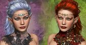 pic of fairyland  - double portrait of two female elven with circlets and ear jewelrys - JPG