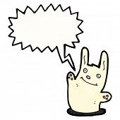 stock photo of rabbit hole  - cartoon rabbit with speech bubble - JPG