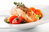 stock photo of salmon steak  - Warm Salad with Salmon Steak - JPG