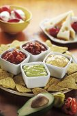 Nachos With Various Dips