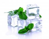 stock photo of peppermint  - Ice cubes with mint isolated on white - JPG